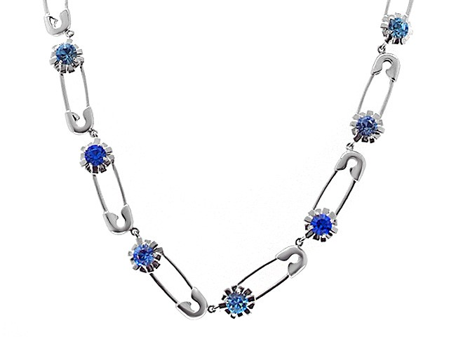 Zandra Rhodes Silver Blue Punk Chic Necklace