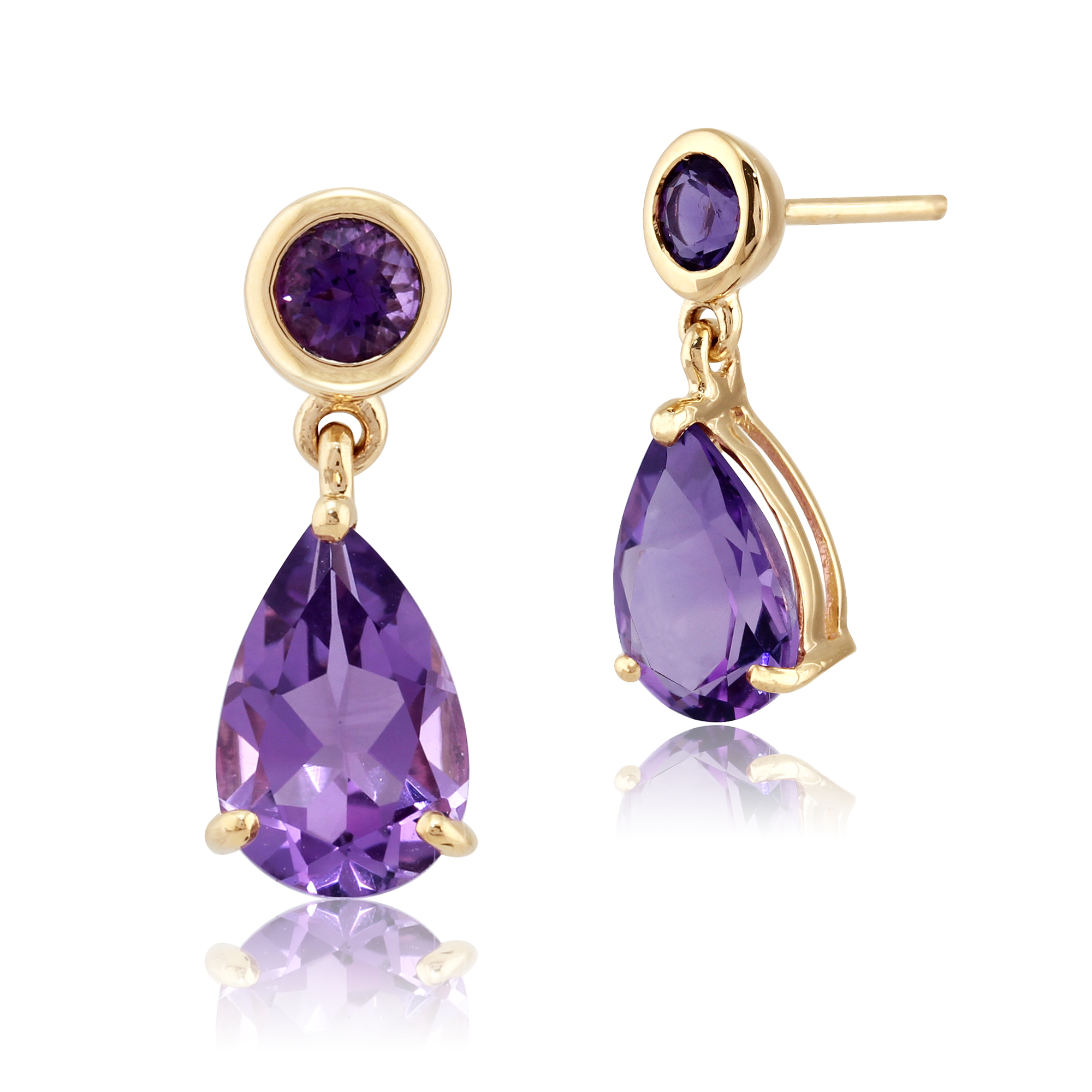 gemondo 9ct yellow gold amethyst two stone drop earrings. Black Bedroom Furniture Sets. Home Design Ideas