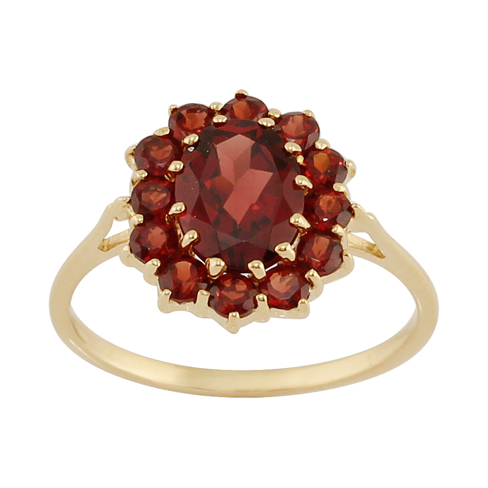 9ct Yellow Gold 2.00ct Natural Garnet Classic Oval Cluster Style Ring Size: G