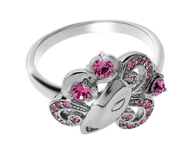 Zandra Rhodes Pink Crystal Manhattan Lady Silver Ring