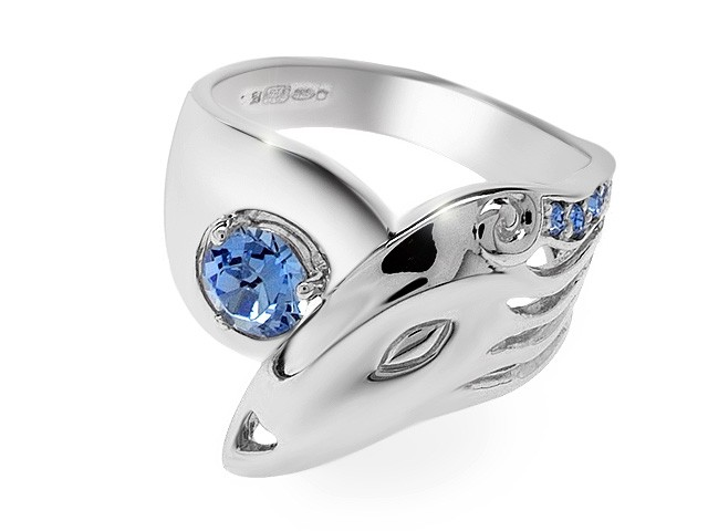 Zandra Rhodes Manhattan Lady Blue Crystal Silver Ring