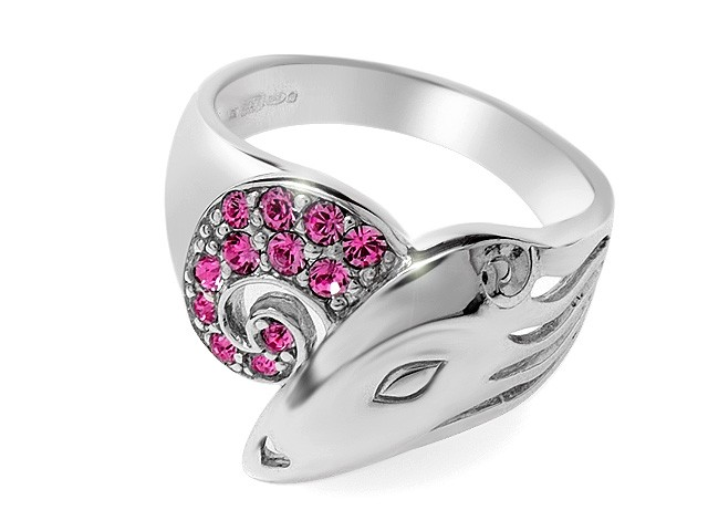 Zandra Rhodes Pink Crystal Manhattan Lady Silver Ring