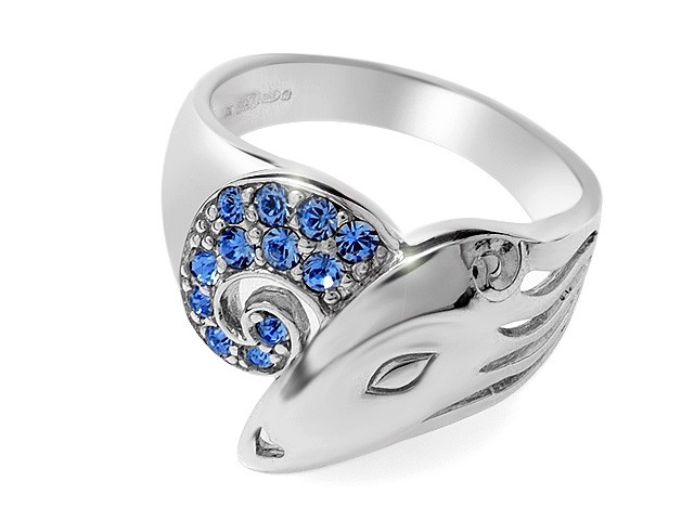 Zandra Rhodes Blue Crystal Manhattan Lady Silver Ring