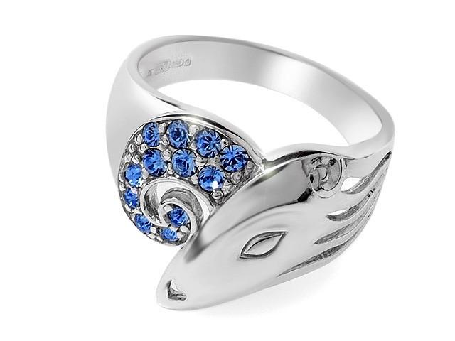 Zandra Rhodes Blue Crystal Manhattan Lady Silver Ring