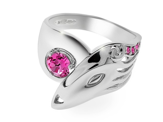 Zandra Rhodes Manhattan Lady Pink Crystal Silver Ring