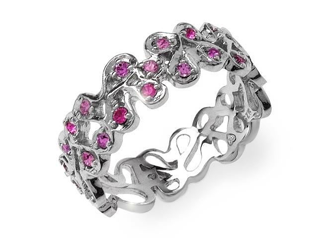 Zandra Rhodes Pink Swarovski Crystal Silver Ring
