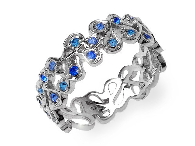 Zandra Rhodes Blue Crystal Whisper Silver Ring
