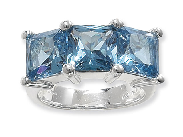 Esse Collection Silver Synthetic Aquamarine Ring
