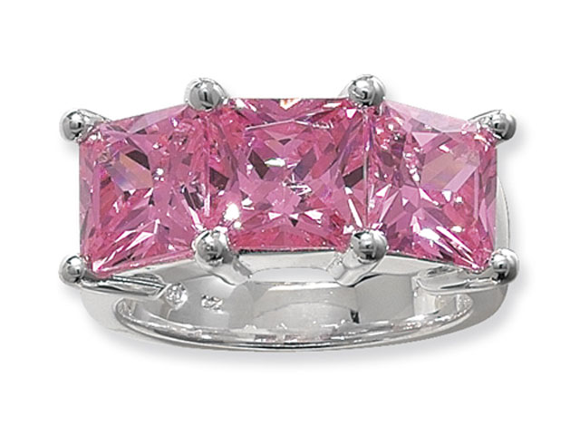 Esse Collection Silver Pink CZ Ring