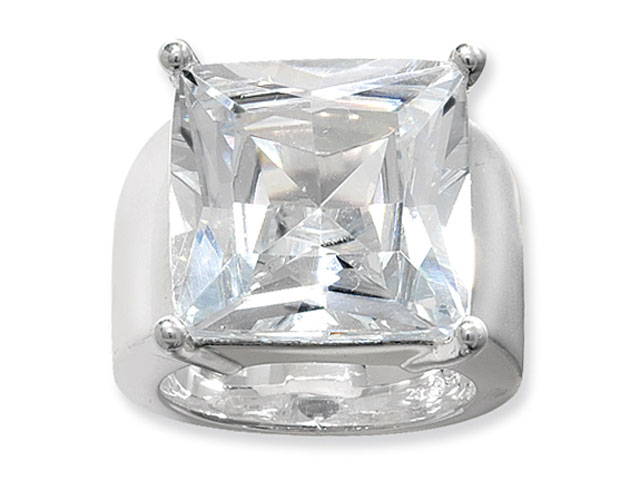 Esse Silver Cubic Zirconia Chunky Ring