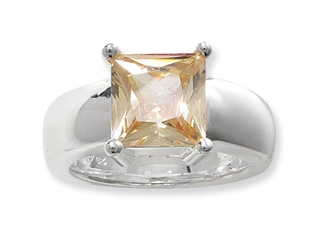 Esse Collection Silver Champagne CZ Ring