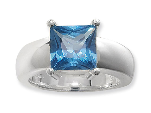 Esse Silver Synthetic Aquamarine Cocktail Ring