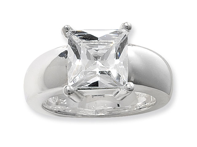 Esse Silver Cubic Zirconia Cocktail Ring