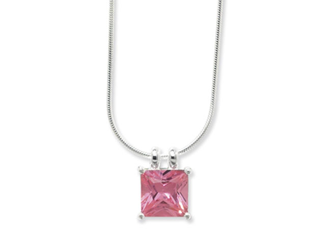 Esse Collection Silver Pink CZ Necklace