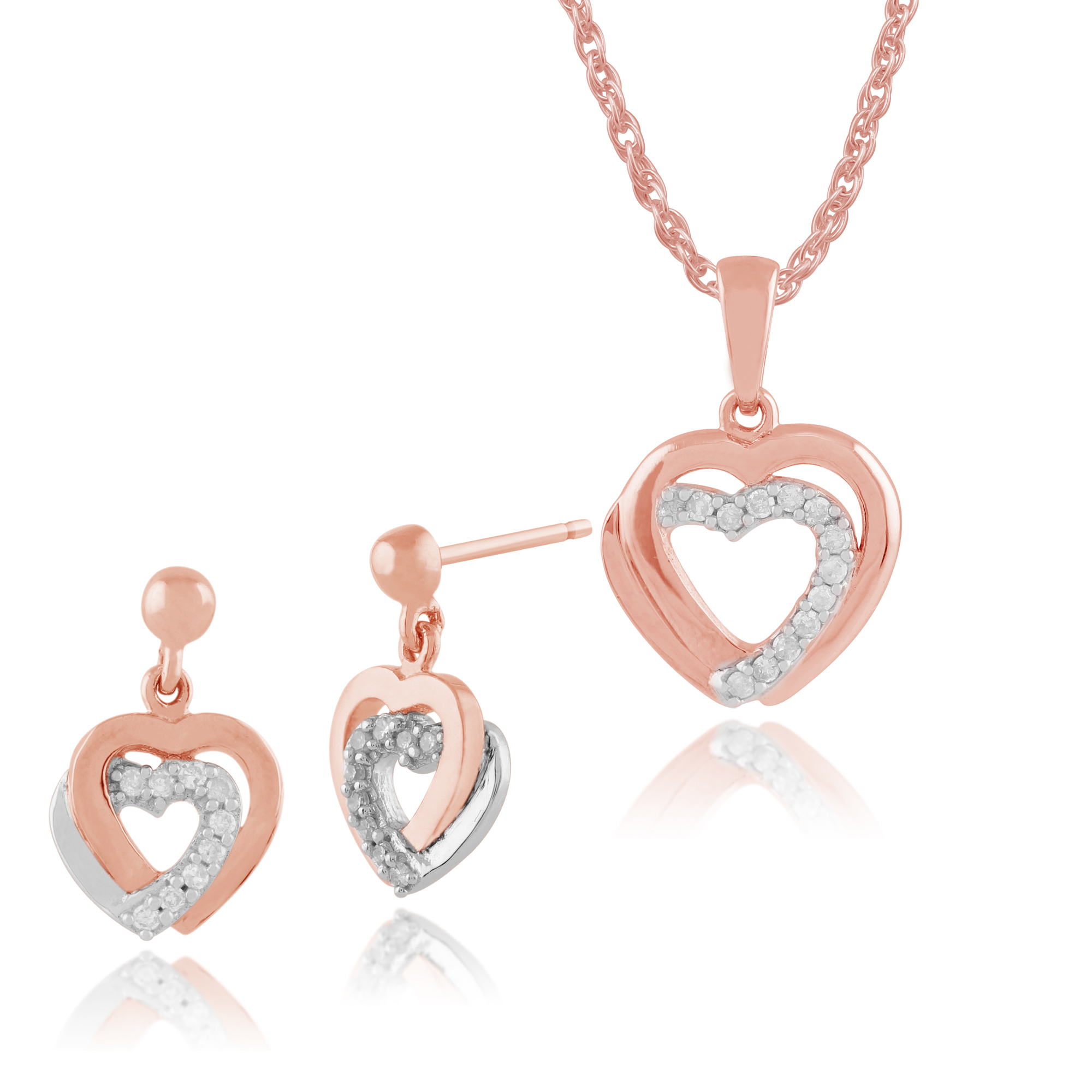 Gemondo 9ct Rose Gold Diamond Hearts Drop Earrings & 45cm Necklace Set