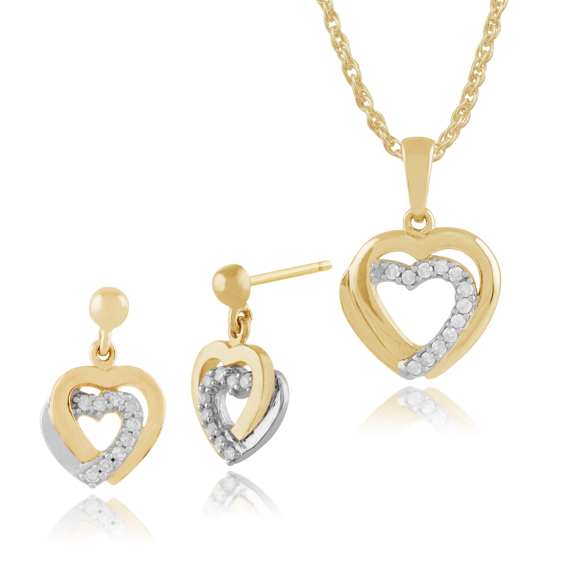 Gemondo 9ct Yellow Gold Diamond Hearts Drop Earrings & 45cm Necklace Set