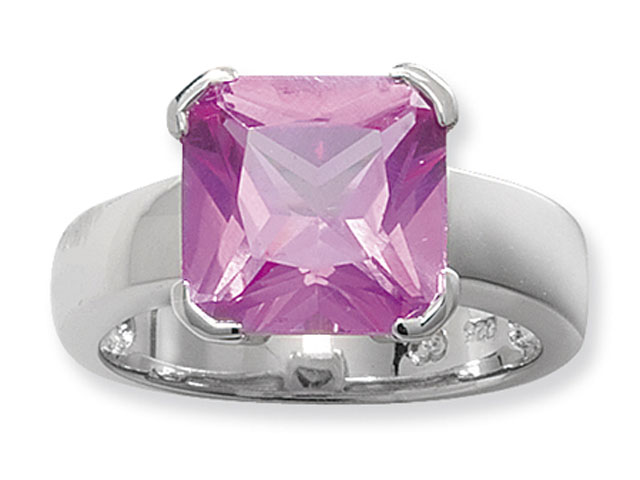 Esse Collection Silver Synthetic Pink Sapphire Ring