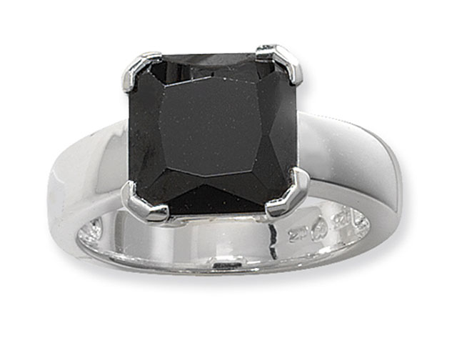 Esse Collection Silver Black CZ Ring