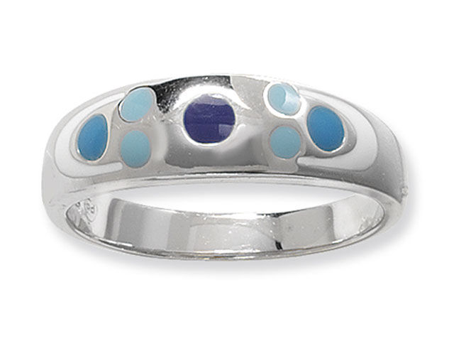 Esse Collection Silver Blue Enamel Ring