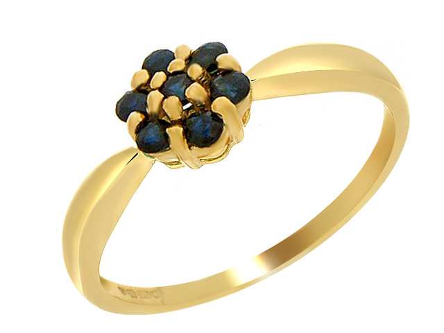 9ct Yellow Gold Sapphire Flower Ring