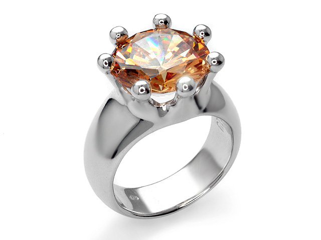 Otazu Silver Champagne Cubic Zirconia Cocktail Ring
