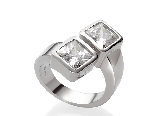 Otazu Silver Square Cut Cubic Zirconia Ring