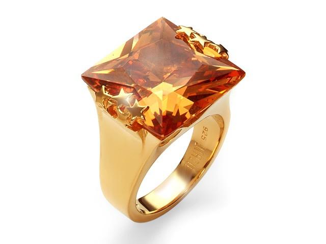 Otazu Silver Champagne CZ Gold Plated Ring