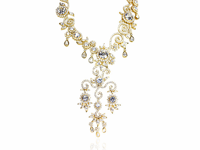Otazu Silver CZ Gold Plated 41cm Necklace
