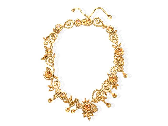 Otazu Silver Champagne CZ Gold Plated 41cm Necklace