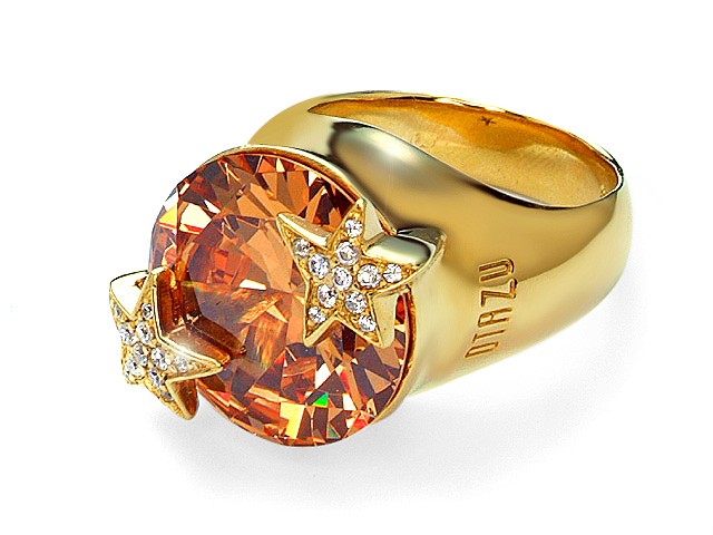 Otazu Silver Gold Plated Champagne Cubic Zirconia Ring
