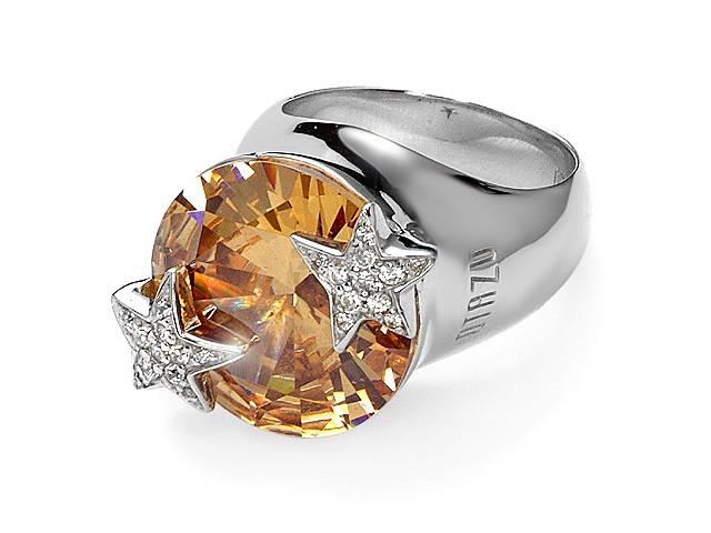 Otazu Silver Champagne Cubic Zirconia Ring