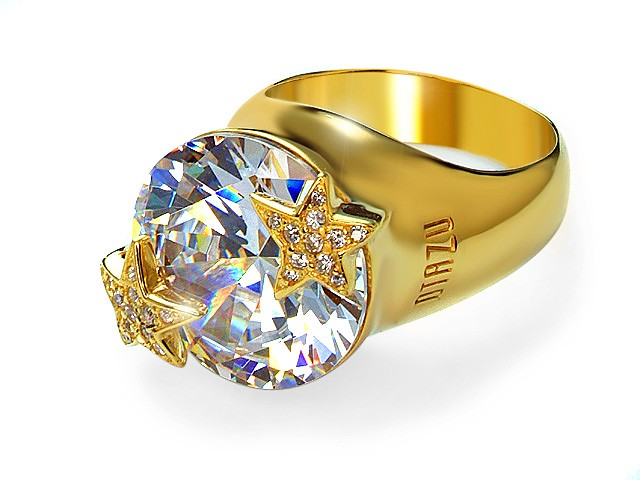 Otazu Silver Gold Plated Cubic Zirconia Ring