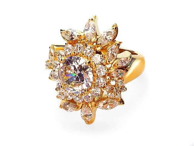 Otazu Silver Gold Plated Cubic Zirconia Flower Ring