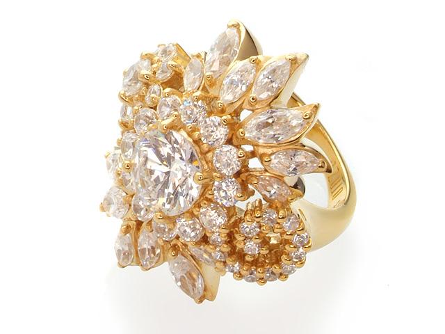 Otazu Silver Gold Plated Cubic Zirconia Flower Ring