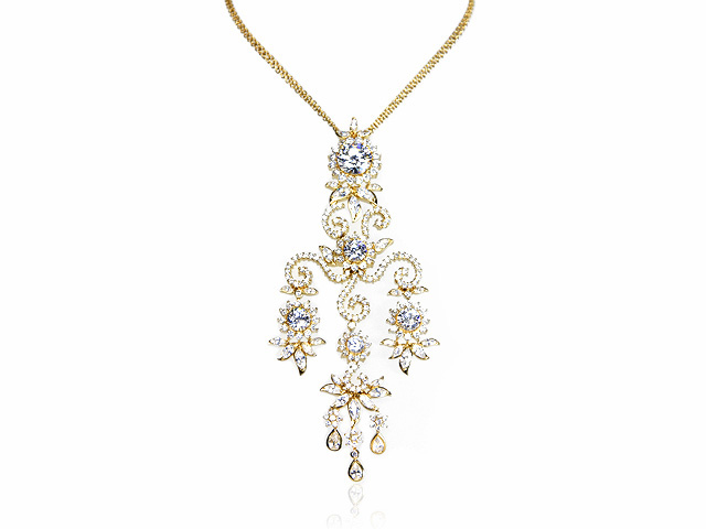 Otazu Silver CZ Gold Plated 42cm Necklace