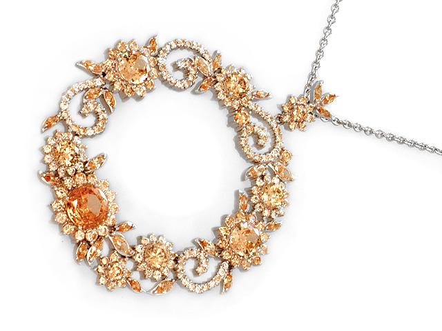 Otazu Silver Champagne CZ 100cm Necklace