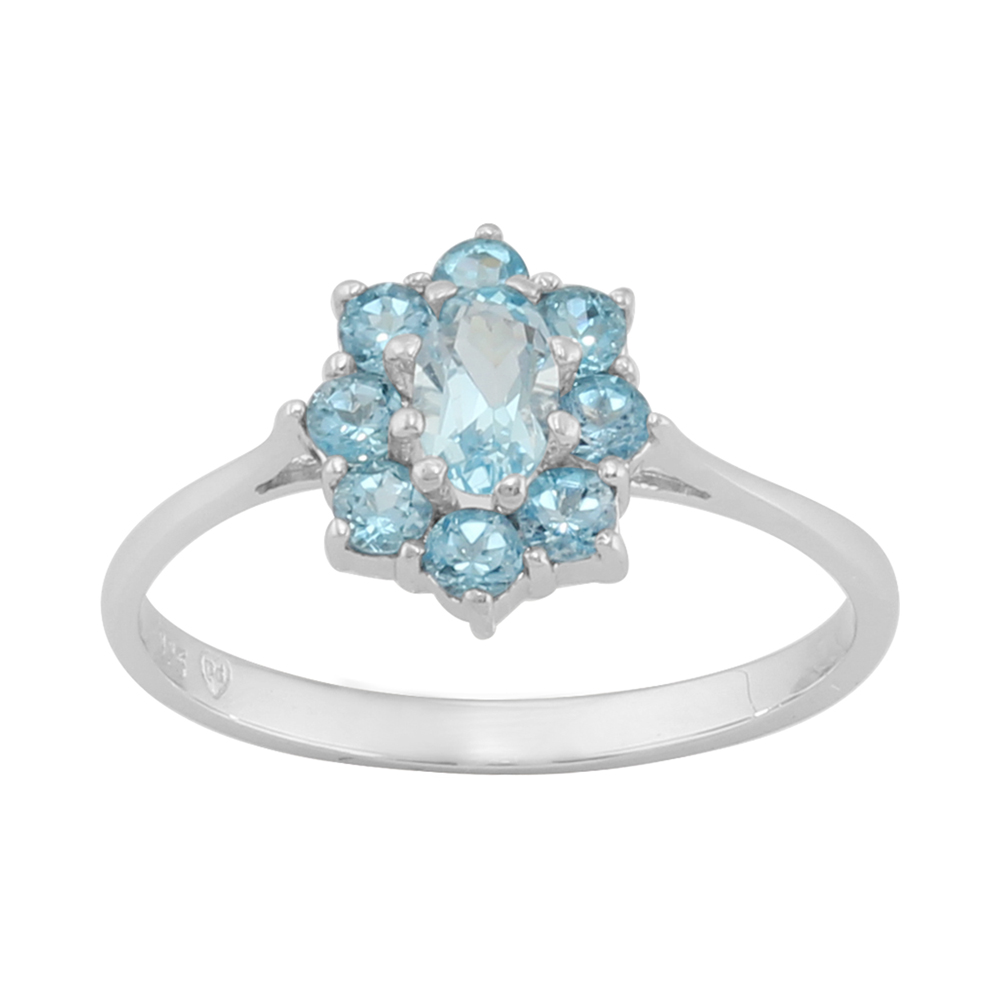 925 Sterling Silver 0.79ct Natural Blue Topaz Classic Floral Cluster Style Ring