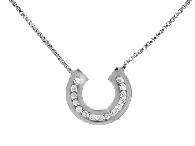 9ct White Gold CZ Necklace