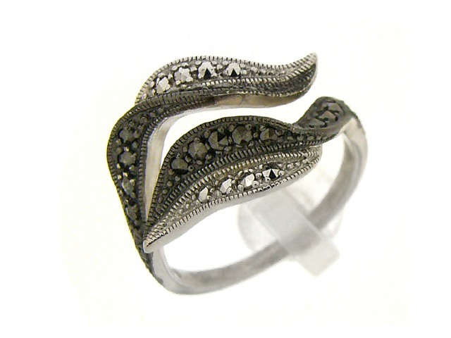 Silver Rhodium Plated Marcasite Ring