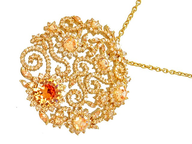 Otazu Silver Champagne CZ Gold Plated 42cm Necklace