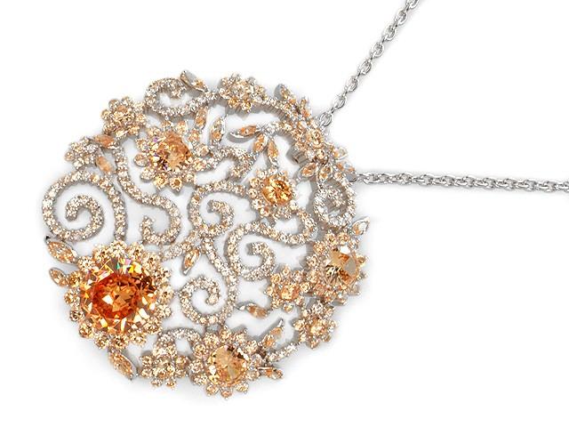 Otazu Silver Champagne CZ 72cm Necklace