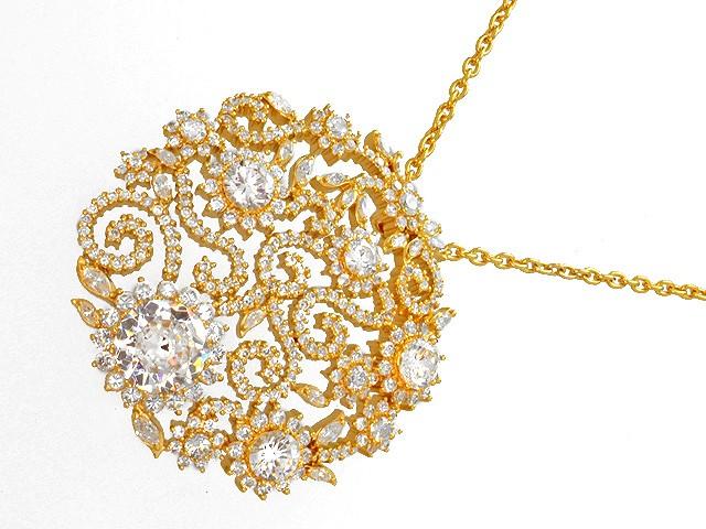 Otazu Silver CZ Gold Plated 100cm Necklace