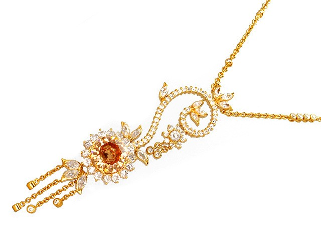 Otazu Silver Champagne CZ Gold Plated 100cm Necklace