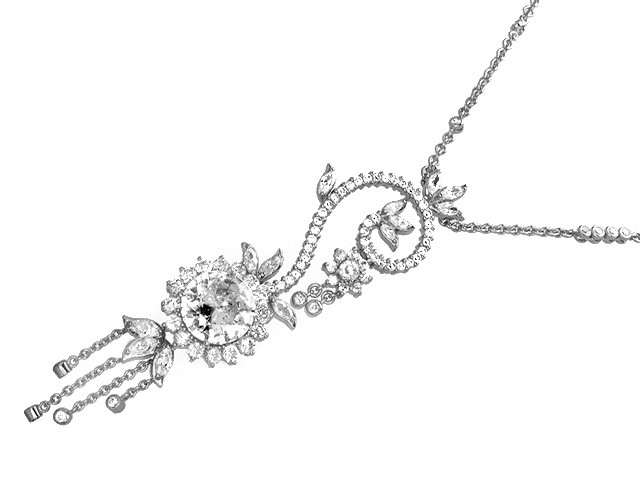 Otazu Silver Collection White CZ 100cm Necklace