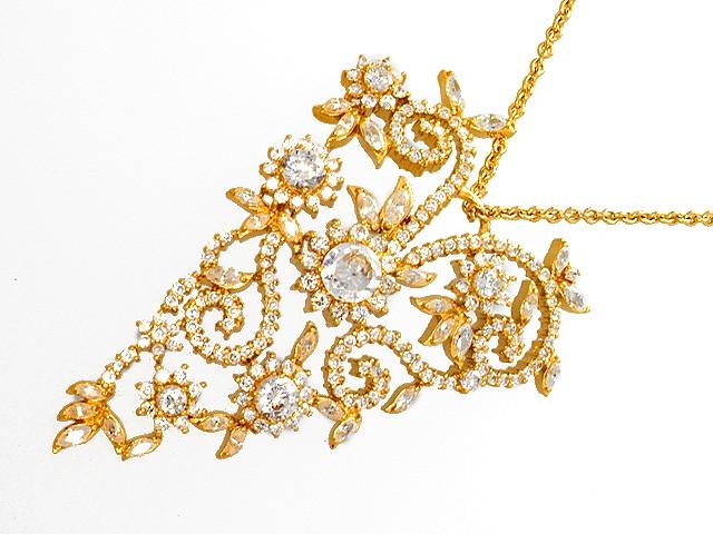 Otazu Silver CZ Gold Plated 72cm Necklace