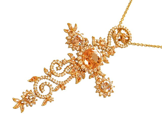 Otazu Silver Champagne CZ Gold Plated Necklace