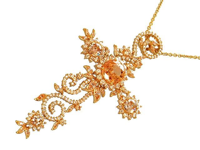 Otazu Silver Champagne CZ Gold Plated Necklace