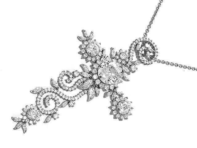 Otazu Silver Collection White CZ Cross Necklace 42cm