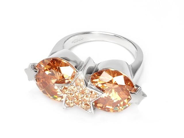 Otazu Silver Champagne CZ Ring