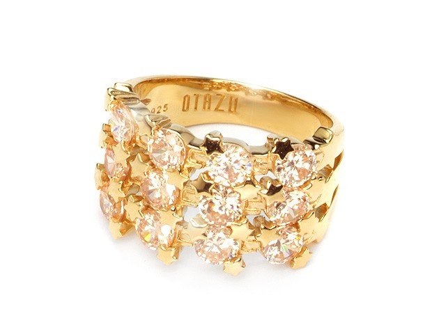 Otazu Silver Champagne CZ Gold Plated Ring